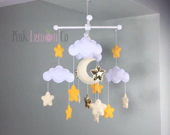 baby mobile-moon and stars baby mobile-gender neutral baby mobile, star baby mobile