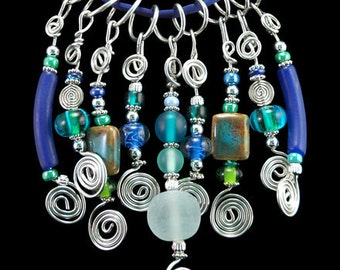 Cluster Charm Necklace in Multi-Blue Mix