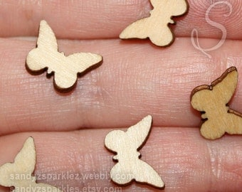 5 - Wood Butterfly Shapes, Laser Cut Raw Wood Butterfly Shapes for charms, multi media, resin blanks, SZS1074