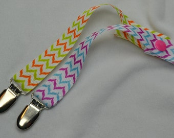 Aqua Pink Yellow Orange  Chevron - Personalized Pacifier Clip Set- Snap or Universal Pacifier Clip Binky Holder, Toy leash, Soothie