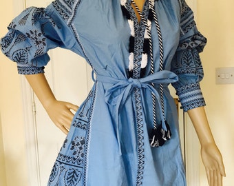 Hand Made To Order Vyshyvanka Mini Dress Vintage Hippy Floral Embroidery Belted Tunic