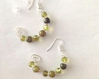 New Jade Semi Hoop Earrings in Dark Olive