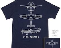 P-51 Mustang Military Aircraft Blueprint T-Shirt BRAND NEW Navy Blue 100% Cotton