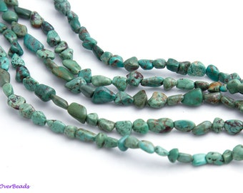 """16"""" Full Strand TURQUOISE Green Brown Nugget Raw Beads, Smooth, Polished, approx 6mm x 8mm,"""