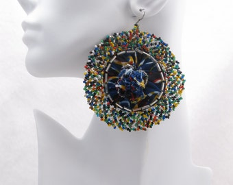 African Bloom #25 - Large Round Fabric Earrings