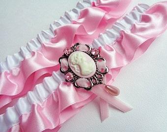 Pink Cameo Garter Set