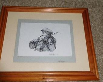 """Framed Fiddler - Titled """" Old Friends"""" & Signed"""