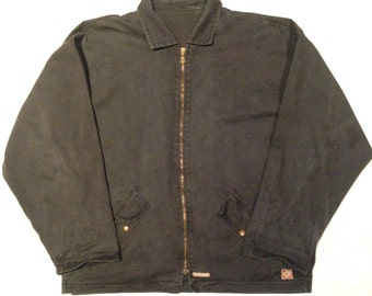 Vintage 90s Poizone Canvas Zip Jacket Navy Skate Thrasher XL