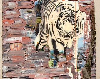 Acrylic painting canvas 70 x 50 x 2 Tiger collage bark structures painting