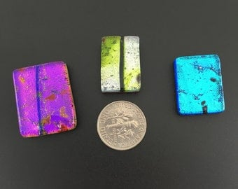 Fused dichroic glass, Cabochon 3 pieces