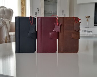 Genuine leather S5 Bookcase Magnet Close Flip Cover Folio Case Book Case Wallet Case Wine Red