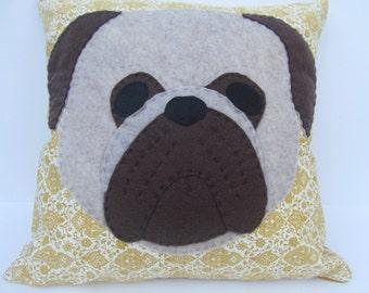 """14"""" Yellow Pug Pillow"""