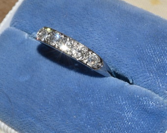 Sparkling Platinum Diamond Band Ring sz 6  3/4 Stackable Ring