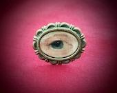 Lover's Eye Adjustable Ring, Eye Miniature, Handmade, Antique Bronze, Memento Mori, Georgian, Victorian, Custom