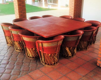 Dining Set with Large Table & 12 chairs, Equipales, Rustic Mexican Furniture, Patio Furniture