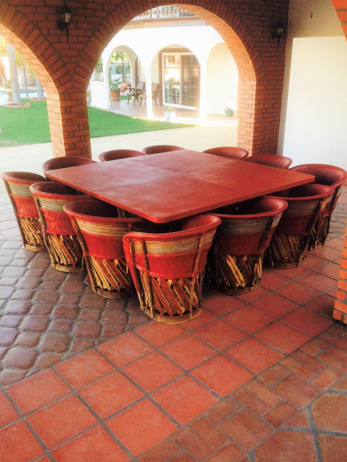 Dining Set With Large Table Amp 12 Chairs Equipales Rustic