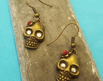 Bronze Day Of The Dead Skull Earrings with crystal accents