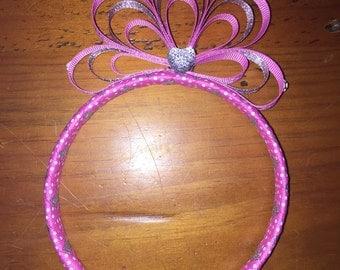 Princess Tiara Headband pink and white polkadots and silver ribbon with heart diamante