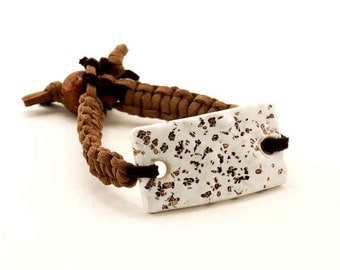Brown Macrame Bracelet Combined With Ceramic