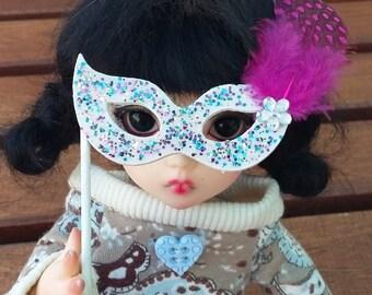 BJD mask white and glitter