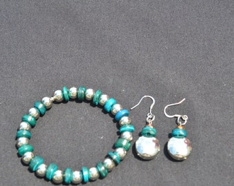 Turquoise and Silver Bracelet and Earrings