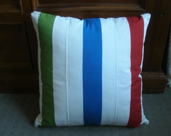Striped paneled cushion cover in Blue, Red and Green