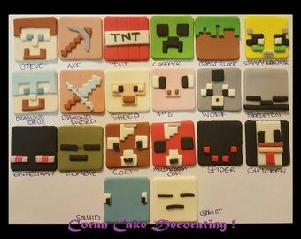 Edible Fondant Minecraft Cupcake Toppers x 6 ... 4.5cms, 20 characters to choose from or Letters of your choice in Minecraft font style.