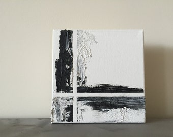6x6 abstract painting black + white