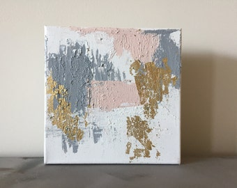 6x6 abstract painting pink/gold/grey/white