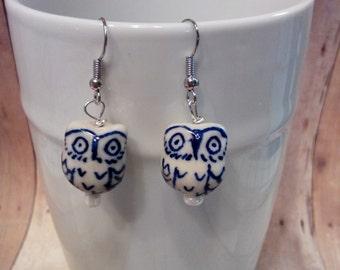 White/Blue owl dangle earrings
