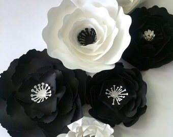 Black and White paper Flowers