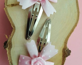 Hair Clips Bow Pink