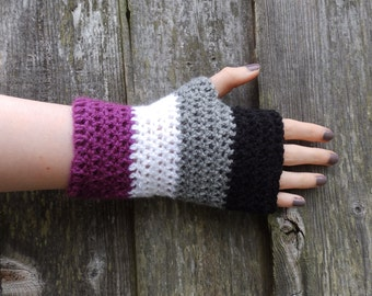 Asexual flag fingerless gloves