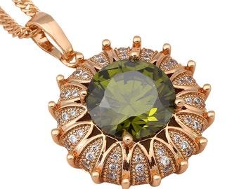 Flower Design Peridot Pendant Necklace