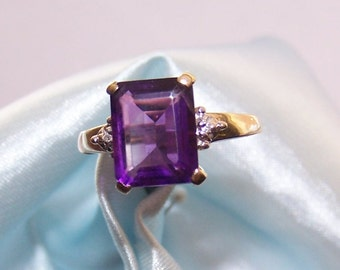 Leer Gem LTD, Vintage 10K Gold Amethyst Ring, Size 6