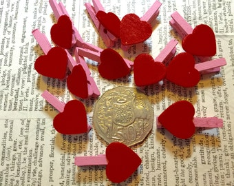 12 Heart Mini Pegs