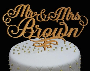 Wedding Cake Topper, Wedding Cake Decor, Personalized MR&MRS Gold Glitter Topper - Bridal Shower - Wedding Gift, Valentine Day Cake Topper