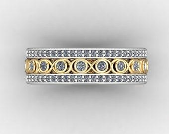 0.90 TDW Two-Tone Diamond Anniversary Ring with Infinity Design #JM017