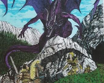 Dragon purple print of original acrylic painting