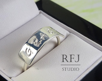 Wide Personalized Silver Ring, Sterling Customizable Ring, Large Name Ring, Mothers Ring, 925 Solid Silver Handstamped Ring, Letter Ring