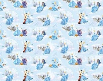 "Disney Fabric - Disney Princess Cinderella Fabric At The Ball 100% cotton Fabric by the yard 36""x43"" (SC354)"