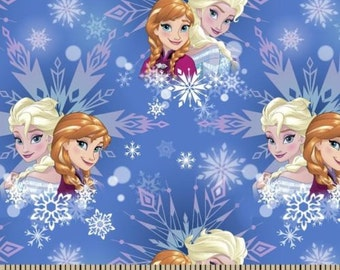 """Disney Fabric: Frozen Fabric - Elsa and Anna Sisters forever Winter Magic Snow flakes allover  100% cotton Fabric By the Yard 36""""x44"""" (SC270"""