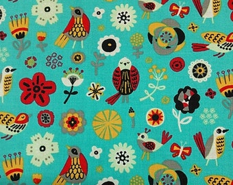 """Animal Fabric: Birds of a Feather Floral Fabric Turquoise by Allison Cole for Camelot  100% cotton fabric by the yard 36""""x43"""" (K134)"""