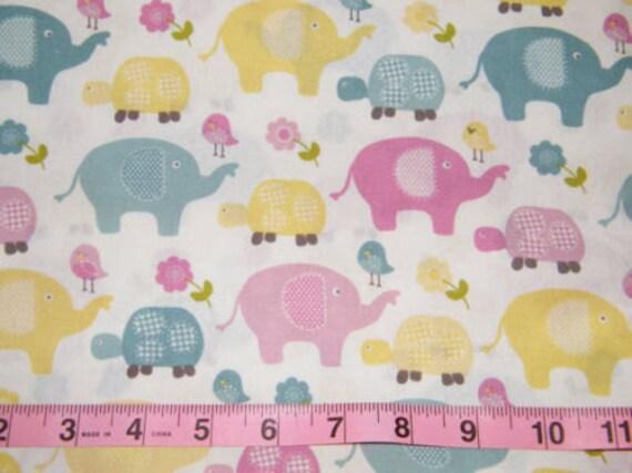 Nursery fabric elephant birds turtle with flowers sweet for Bird nursery fabric