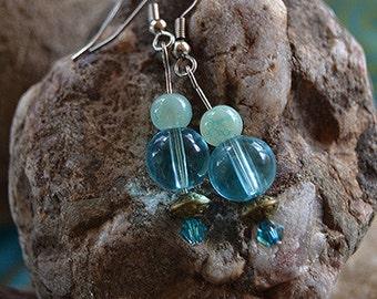 Sea Blue and Bronze Earrings