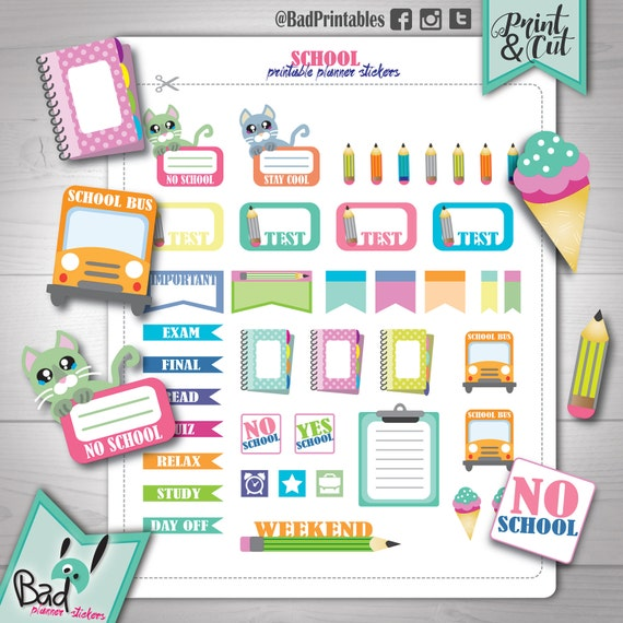 School planner stickers SALE Back to school stickers printable Study ...