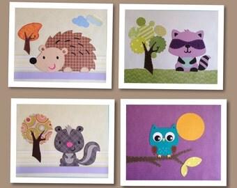 Woodland animals Nursery Decor Baby Boy Room Baby Shower Gift Nursery Wall Art  Raccoon Skunk Hedgehog Owl Set of 4 Unframed wall art  piec