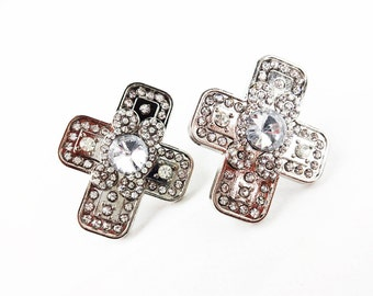 """Two 1-3/4"""" Mr. Saddle Silver Bling Cross Single Post Repair Arts & Crafts Western Cowboy Bridle Concho"""