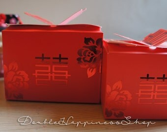 Double Happiness Wedding Favor Gift Box Chinese Wedding (Qty 100) [B8]