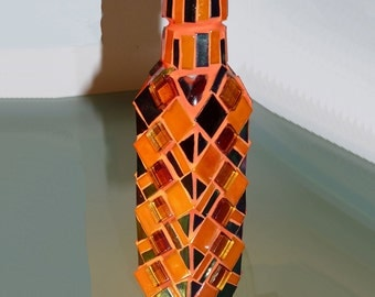 Stained Glass Mosaic Vase, Mosaic Recycled Bottle Glass Vase, Table Decor, Orange Handmade, Flower Vase, Gift Idea, Candle Holder